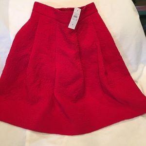 Ann Taylor Red Textured Skirt